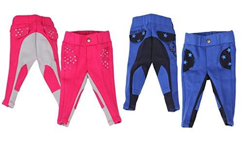 netproshop Niedliche Qualitäts Baumwoll Reithose für Baby Kleinkinder Gr. 56-104, Kindergroesse:80, Farbe:Pink/Grau