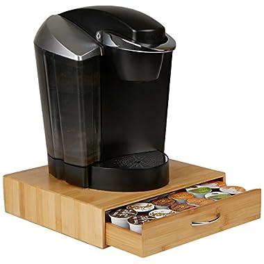 Mind Reader 36 Capacity Bamboo K-Cup Single Serve Coffee Pod Storage Drawer Organizer, Brown