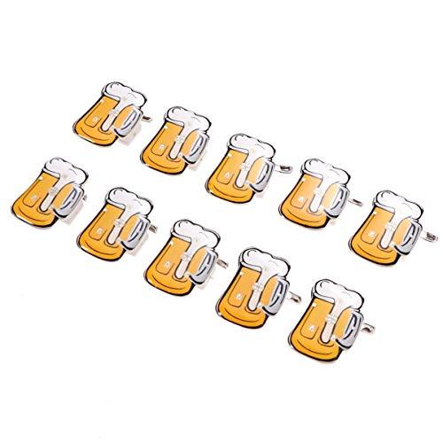 TOYANDONA 10 Stück Kreative Bierkrug Broschen Führte Leuchtende Brosche Stifte Blinkende Abzeichen Anstecknadel für Bar Bier Festival Party Bevorzugt Zufällige Farbe