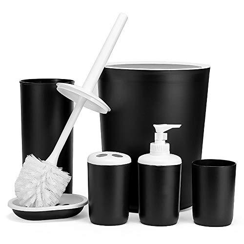 Hoomtaook Zestaw dekoracyjny łazienkowy, akcesoria łazienkowe, 6-częściowy zestaw, akcesoria łazienkowe, łazienka, nietoksyczne, tworzywo sztuczne PP, czarny