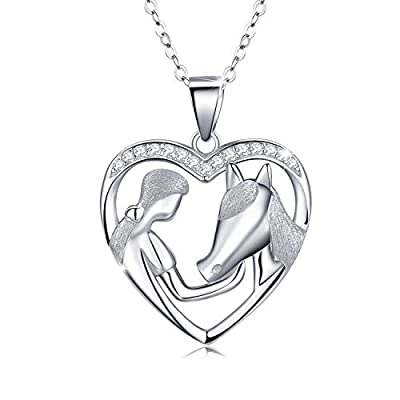 """MEDWISE Horse Pendant Necklace Jewelry Gifts for Women Girls Silver Lucky Horse in Heart Necklace Embrace Horse Necklace for Cowgirls Equestrian Birthday Gift,18"""""""