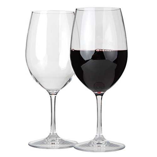 Lilys Home Unbreakable Cabernet and Merlot Bordeaux Red Wine Glasses, Made of Shatterproof Tritan Plastic, for Indoor and Outdoor Use, Reusable and Crystal Clear 20 oz. Each, Set of 2