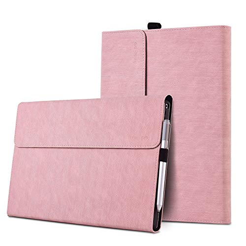 xisiciao Protective Case for Surface Pro 7(2019) with Stylus Holder, Multiple Angle Polyester Slim Lightweight Cover, Compatible with Type Cover Keyboard (Surface Pro 7, Light Pink)