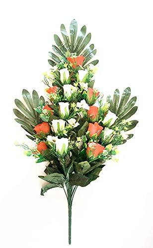 通用 2pcs Rosas Flores Artificiales Ramo 18 Cabezas, para Cementerio e Iglesias (Naranja) (Rojo)