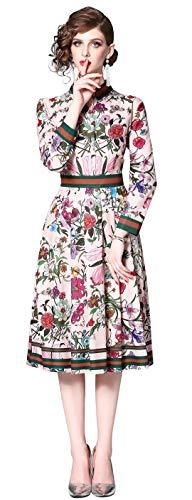 Damen Midikleid Elegant A-Linie Knopfleiste Hemdkleid mit Blumenmustern Party Kleider, Mehrfarbig-a, 42