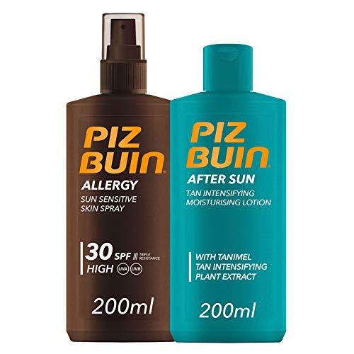Piz Buin, Allergy, Spray Piel Sensible, Cuerpo, SPF 30, Protección alta, 200ml + After Sun Loción Intensificadora del bronceado, 200ml
