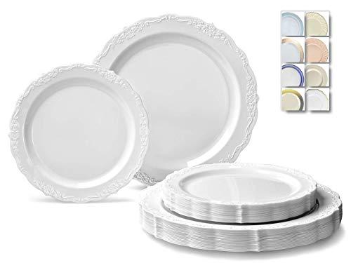 OCCASIONS  240 Plates Pack,(120 Guests) Vintage Wedding Party Disposable Plastic Plates Set -120 x 10 Dinner + 120 x 7.5 Salad / Dessert (Verona Plain White)