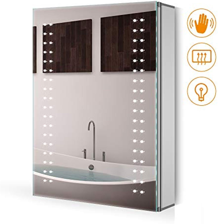 Quavikey 50x70x13cm Spiegelschrank Badspiegel Wandschrank mit beleuchtung energiesparender LED für Bad Badezimmerschrank Antibeschlag Wasserdicht IP44