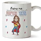 Mugffins Tata Mug/Tasse - J'aime ma Super Tata - Tasse Originale/Cadeau Anniversaire/Future Tante. Céramique 350 ML