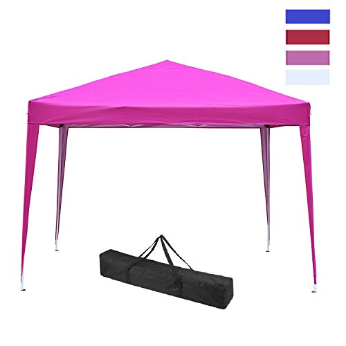 Leisurelife Waterproof 10'x10' Pop Up Canopy Tent with Sidewalls - Outdoor Folding Commercial Gazebo Party Tent Pink