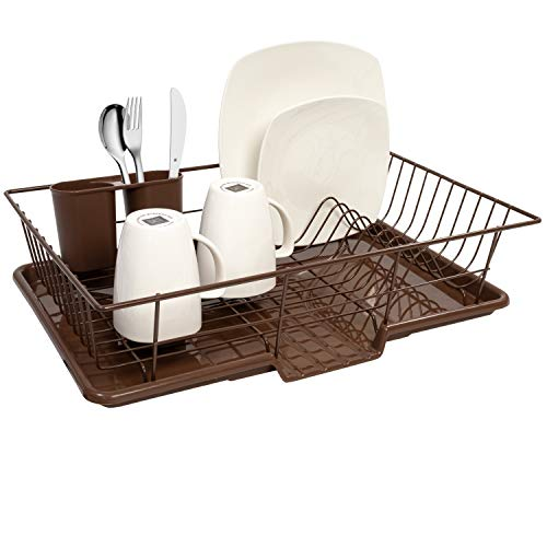 Sweet Home Collection Dish Rack Drainer 3 Piece Set with Drying Board and Utensil Holder, 12' x 19' x 5', Bronze