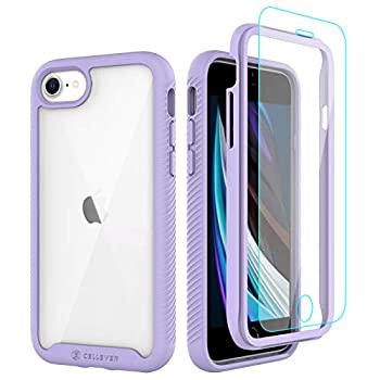 CellEver Compatible with iPhone SE 2020 Case/iPhone 7/iPhone 8 Case Clear Full Body Heavy Duty Protective Anti-Slip Full Body Transparent Cover  2X Glass Screen Protector Included  - Purple