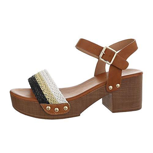 Ital-Design Damenschuhe Sandalen & Sandaletten High Heel Sandaletten Synthetik Braun Schwarz Gr. 39