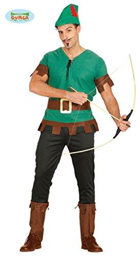 Guirca- Costume da Robin Hood, Arciere, Bandito del Bosco, Colore Verde, L, 80131