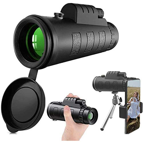 Fernrohr Monokular Teleskop 40X60 High Power HD mit Smartphone Halter & Stativ wasserdicht mit für Camping Wandern Vogelbeobachtung
