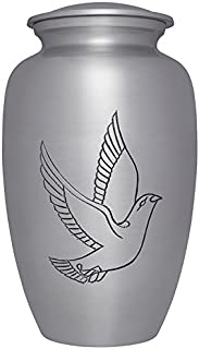Liliane Memorials Silver Dove Funeral Cremation Urn with Bird Colomba Model in Aluminum for Human Ashes; Suitable for Cemetery Burial; Fits Remains of Adults up to 200 lbs, Large/200 lb,