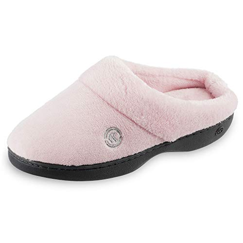 isotoner womens Terry in Clog, Memory Foam, Comfort and Arch Support, Indoor/Outdoor Slip on Slipper, Peony, 8.5-9 US