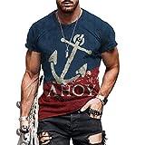 Shirt Sin Cuello Hombre Manga Corta Estilo Hip Hop Verano Cuello Redondo Básica Hombre T-Shirt Diseño Estampado Letras Creativas Hombre Shirt Tendencia Suelta Hombre Ropa De Calle