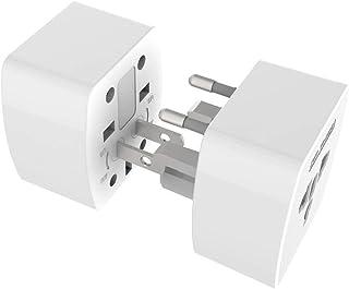 LFXD オールインワン高品質、便利、安全、快適、海外旅行充電器 変換プラグ 海外変換アダプター 充電器 110v-250v 6A 世界150カ国に対応 (US/UK / EU/AU)ホワイト