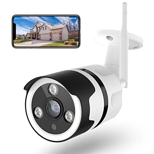 Caméra de Surveillance WiFi Exterieure, Netvue Full HD 1080P Vidéo Surveillance Compatible avec Alexa, Webcam WiFi sans Fil avec Vision Nocturne, Détection de Humain Mouvement, Audio Bidirectionnel