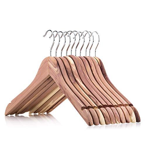 HANGERWORLD 10 Zedernholz Kleiderbügel 44cm Natürlicher Mottenschutz im Kleiderschrank