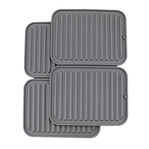 Knmkisk Silicone Heat Resistant Trivet mat Set of 2 hot pad for Pot Holder Counter top Protector and Spoon Rest Food Grade Safe Rectangular Grey