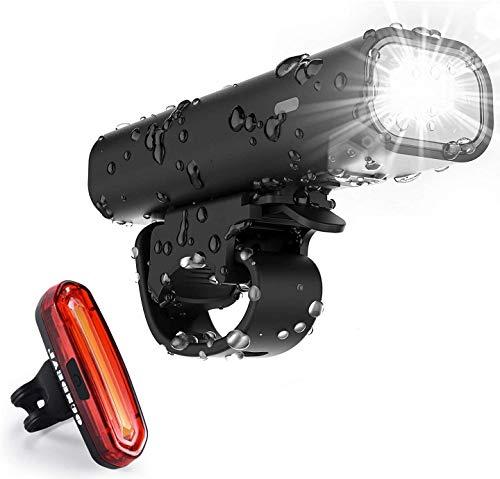 OUNDEAL Luz Bicicleta LED, Luz Delantera Bicicleta Recargable USB, Luces Bicicleta Impermeable con Luz Trasera Bicicleta y Faro Delantero Bicicleta, para Ciclismo Seguridad
