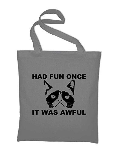 Styletex23 Had Fun Once It Was Awful Grumpy Cat Jutebeutel Baumwolltasche, light grey