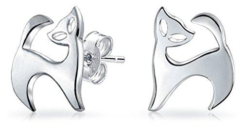 Winzige Minimalistische Geometrische Haustiere Kitty Kitten Katze Ohrstecker Für Damen Fuß Jugendlich Sterling Silber
