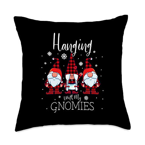 Three Red Gnomes Christmas Gift Store Hanging With My Gnomies Christmas Buffalo Plaid Garden Gnome Throw Pillow, 18x18, Multicolor