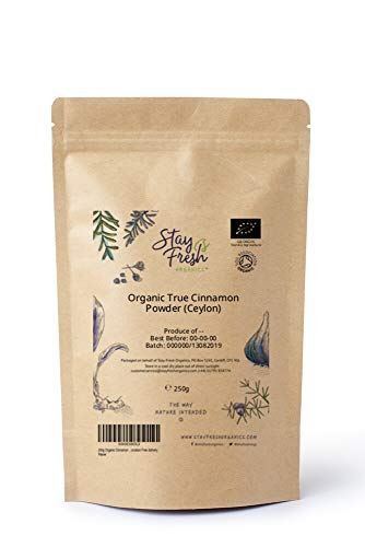 250g Organic True Cinnamon Powder (Ceylon) Sri Lanka by Stay Fresh Organics - Coumarin Tested - Eco Friendly Pouch - Resealable - Certified by Soil Association