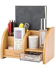 peinat Bureauorganizer van bamboe, natuurlijke nerf, pennenhouder, pennenkoker met 5 vakken, multifunctionele bureau-organizer, tiidy desktop-organizer voor thuiskantoor, 20 x 13 x 14 cm