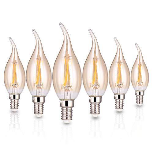 ELINKUME Kerze Lampe E14 Glühlampen LED Birne C35 Filament Fadenlampe 600 Lumen 3000K Warmweiß E14 Fassung und 4 Docht, Golden 6er Pack
