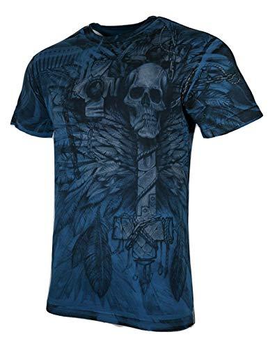 Xtreme Couture by Affliction Men T-Shirt Bad OMEN Cross Biker MMA Gym S-4XL $40 (M) Blue
