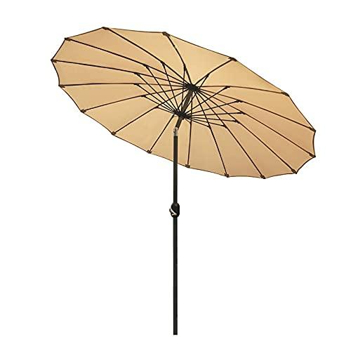 Paraguas de Jardín Sombrillas de Jardín con Manivela e Inclinación, Paraguas al Aire Libre de 2.5m/8ft para Patio Trasero/Terraza, Robusto 16 Varillas y 50+Resistente a Los Rayos UV ( Color : Beige )