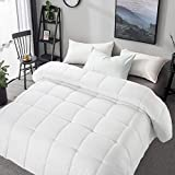 MERITLIFE Premium Queen Size Comforter All Seasons 2100 Series Down Alternative Comforter 350 GSM Lightweight Cooling Breathable Quilted Duvet Insert 8 Corner Tabs Washable (White, Queen (88'x88'))