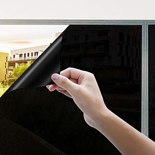 Rhodesy Fensterfolie Selbsthaftend Schwarz, Homegoo Matt Statisch Folie dunkel, Anti-UV Hitze Schwarz für Schlafzimmer und Wohnzimmer, 45 x 200 cm (17.5 x 78.7 inch)