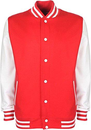 College-Jacke/Freizeitjacke - für Damen und Herren Farbe Rot/Weiß Größe S