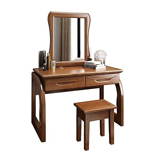 Equipo diario Juego de mesa de maquillaje Juego de mesa Maquillaje de madera con taburete 2 cajones para niñas Mujeres Dormitorio Escritorio de maquillaje Juego de espejo cuadrado (Tamaño del color