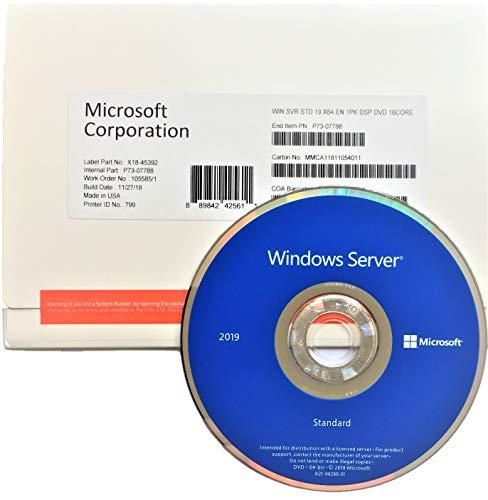 Preisvergleich Produktbild Windows Server 2019 Standard 64 Bit,  English,  1PK,  DSP,  DVD,  License Key,  16core.