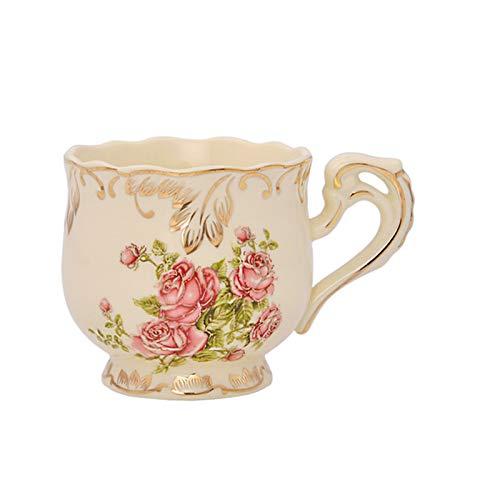 Copa de té de Porcelana Cuchara de platillo Conjunto Elegante Luz de Lujo de Lujo de café Cómodas de café Estilo Hermoso Regalo 250ml / 8.5 Onza (Color : A)