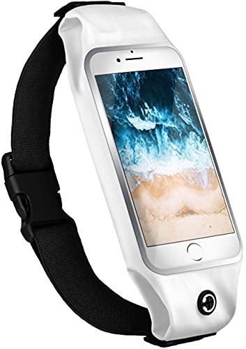 moex Laufgürtel Handy für Samsung Galaxy S7 Edge Lauftasche Jogging Tasche Wasserfest, Slim Running Belt Flexibel mit Sichtfenster, Laufgurt zum Joggen Bauchtasche Sport, - Weiß