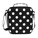 Insulated Lunch Box Polka Dot Black Large Lunch Bag Warmer Cooler Meal Prep Lunch Tote with Shoulder Strap for Women Boys Girls