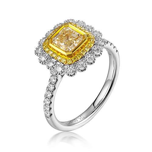 AnazoZ 18K Oro Blanco Anillos para Mujer Oro Blanco Anillos para Mujer Rectángulo Diamante Amarillo Blanco 1.01ct Talla 16