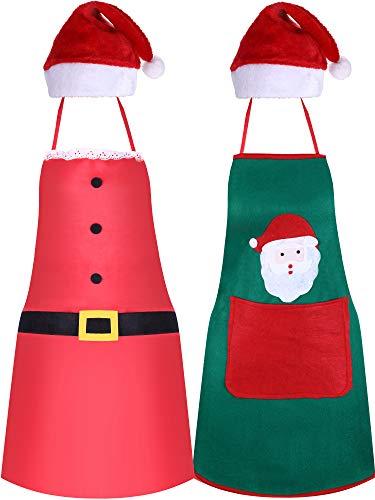 4 Piezas Kit de Delantales de Cocina de Navidad y Gorro de Santa, Incluye Sombrero Rojo de Santa Claus y Delantales de Navidad para Suministro de Fiesta de Navidad