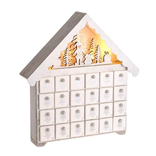 CBI Festive éclairage de Bois Blanc Père Noël Maison Calendrier de l'Avent avec 24 tiroirs