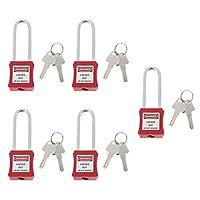Homyl 5ピース/個安全パドロックロックアウトタグアウトロックキー付きパドロック、PA&ステンレス