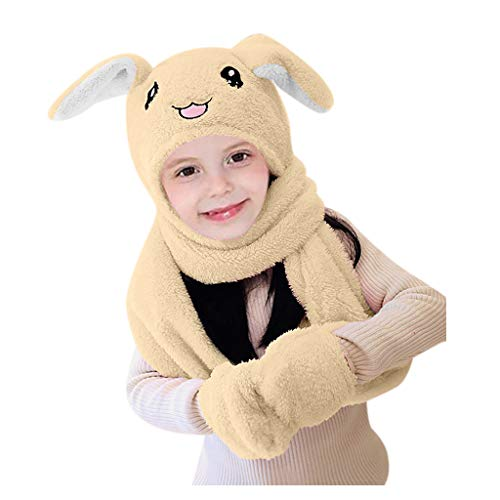SKays Strickmütze Baby Wintermütze Warme Schlupfmütze Beanie Mütze Netter 3 IN 1 Hut-Handschuh-Schal Kann Airbag-Magnet-Kappen-Plüsch-Tanz-Kaninchen-Ohr Bewegen, Khaki