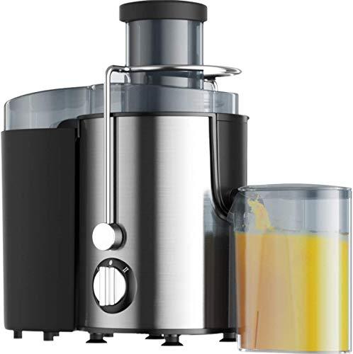 Extractor de Jugos, Extractores de Exprimidores Eléctricos, Exprimidores Eléctricos de Cítricos Antideslizantes Fáciles de Limpiar, Conductos de alimentación de 7cm, acero inoxidable, sin BPA (Gris)
