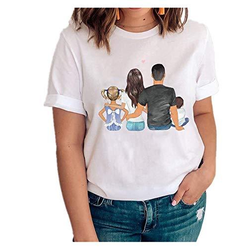 Mujeres Gráfico Amor Manga Corta Dibujos Animados Madre Hija Ropa Señora Tops Ropa Impresión Mujer Camisa - - XX-Large